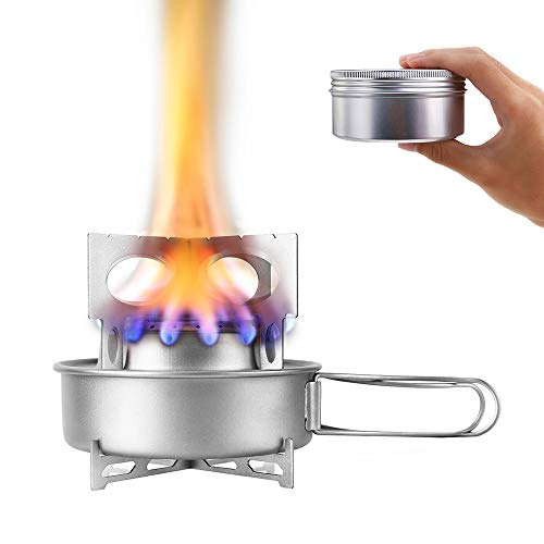 TOMSHOO Titanium Alcohol Camping Burner Stove with Foldable Handle, Stronger Firepower, Rack Combo Set & Cross Stand Lightweight Alcohol Backpacking Stove for Outdoor Hiking