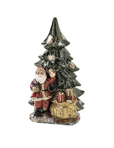BRANDANI Babbo Natale con Abete in Porcellana Art. 82647 cm. 19,5x17,5x37,5 h.