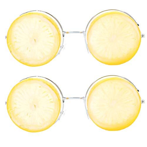 PRETYZOOM Luau Party Sonnenbrille Neuheit Obst Sonnenbrille Fotokabine Requisiten Zitronengläser Tropisches Kostüm Bevorzugt Neuheit Party Gefälligkeiten für Kinder Und Erwachsene 2 Stück (Gelb)