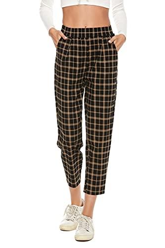 BCOFUI Pantalones cortos de cintura alta elástica para mujer con estampado a cuadros y bolsillos
