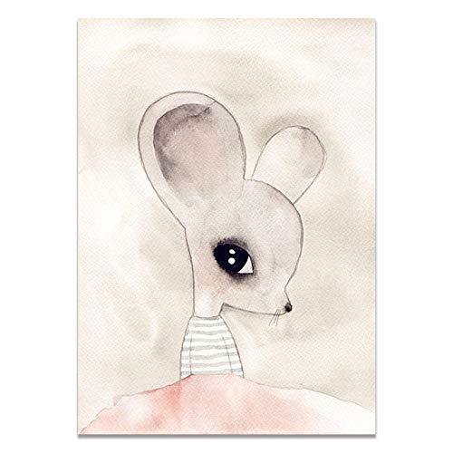 U/N Lindo Animal Pared Arte Cartel Impreso Kawaii Gato Zorro niños habitación decoración de Pared imágenes para Sala de Estar Lienzo Impreso Pinturas-6