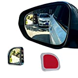 LivTee 2PCS Fan Blind Spot Mirror, HD Glass and ABS Housing Convex Wide Angle Rearview Mirror with Adjustable Stick for Universal Car, Silvery