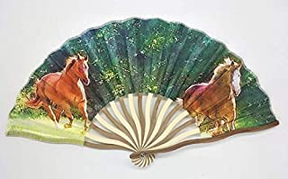Gallyp LLC Chinese Horse Folding Fan - Custom Handheld Fan - Photos of Horse - Decoration - Cools You Down - Handfan - Silk Protective Case - Beautiful Scenery - Bamboo Frame - Accordion Design