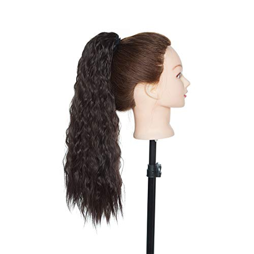 Long Wavy Drawstring Ponytail Corn Wave Ponytail Hair Extensions Loose Deep Wave ponytail Hairpieces for Women Dark Brown