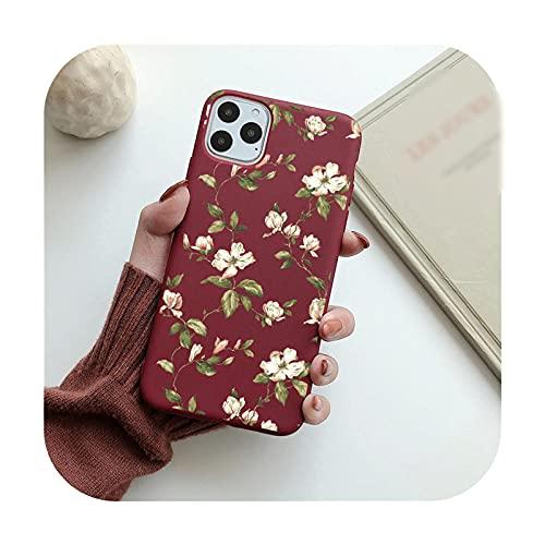 Funda de teléfono floral de moda para iPhone 11 Pro Max 12 Mini 7 8 Plus 6 S XS Max X XR 12Pro SE 2020 Color caramelo suave TPU contraportada T11-para iPhone 12 Mini
