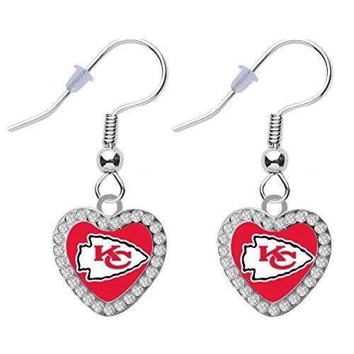 Kansas City Chiefs Crystal Heart Earrings Pierced