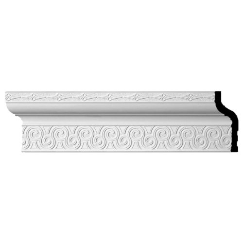 """Ekena Millwork MLD08X03X09BE Bedford Crown Moulding, 8 3/8""""H x 3 3/4""""P x 9""""F x 94 1/2""""L, (6 7/8"""" Repeat), Factory Primed"""