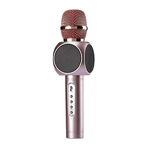 Micrófono Karaoke El micrófono de karaoke inalámbrico 3 en 1 Sistema reproductor portátil Bluetooth Karaoke con dos altavoces integrados Compatible con Android para el canto ( Color : Rose Gold )