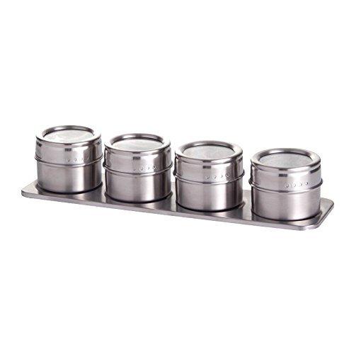 Westmark Gewürzdosen-Set/Gewürzboard mit 4 Gewürzdosen, Durchmesser: 6,5 cm, Fassungsvermögen je ca. 40 ml, Magnetisch, Rostfreier Edelstahl, Silber, 65152260