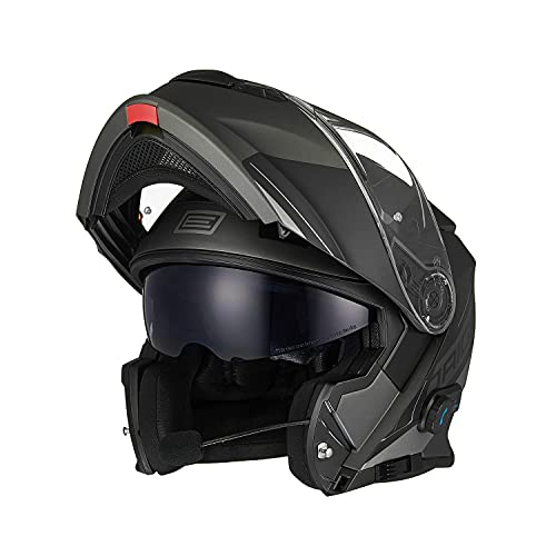 ORIGINE Motorradhelm Bluetooth Klapphelm Integralhelm ECE 22.05 mit klar getöntem Visier...