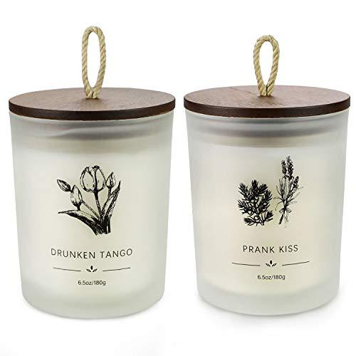 YMing Duftkerzen, Geschenk-Set, 180 g, 40 Stunden, Holzdeckel, Milchglas, tragbare Reisekerzen für Stressabbau und Aromatherapie, Geschenk für Frauen – 2 Stück