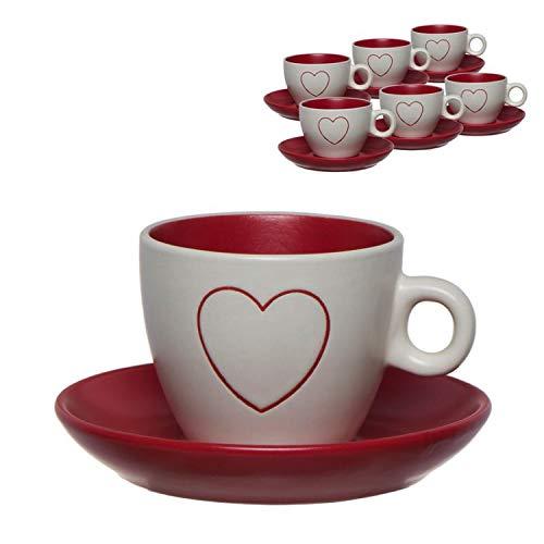 Vidal Regalos Juego Café Taza Pequeña 90ML x6 Blanco Rojo Corazón San Valentín