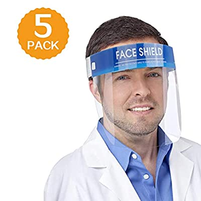 ?FDA Approved?5 Pack Safety Face Shield Medical Full Face Protect Eyes and Face Plastic Dental Face Shield with Protective Clear Film Elastic Band and Comfort Sponge Ideal for Kids Adults