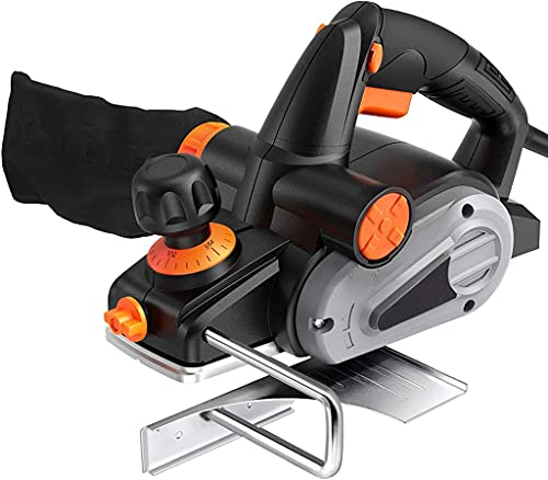 Electric Hand Planer, 6-Amp Electric Planer 3-1/4-Inch, 16500RPM, with 5/64 inch Adjustable Cut Depth, Dual Exhaust Ports, Switch, Parallel Fence Bracket, Ideal Planer Woodworking - EPN01A