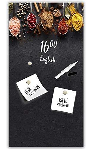 STYLER Memoboard Magnettafel Magnetpinnwand Magnetboard | Magnetwand zum Beschriften | Glas Küche schwarz Gewürze | Format 30x30 o. 30x60 cm (Dark Spoons, L (30 x 60 cm))