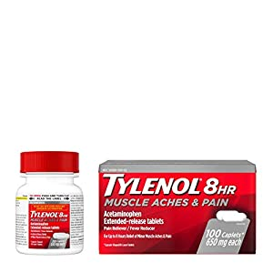 100-count bottle of Tylenol 8 Hour Muscle Aches & Pains Acetaminophen Tablets to provide temporary relief of muscle, joint and body aches and pains and to help reduce fever Each extended-release tablet contains 650 mg of acetaminophen and features tw...