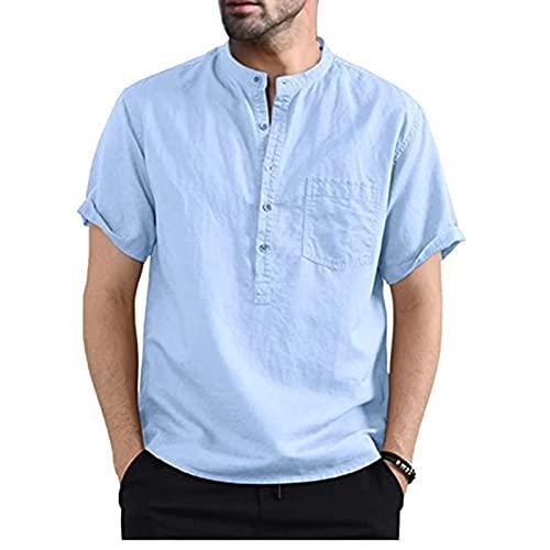 SSBZYES Camisas De Hombre Camisas De Verano De Manga Corta para Hombre Camisetas De Hombre Camisas De Algodón Y Lino Camisas De Manga Corta con Bolsillo De Color Sólido con Cuello Henry para Hombre