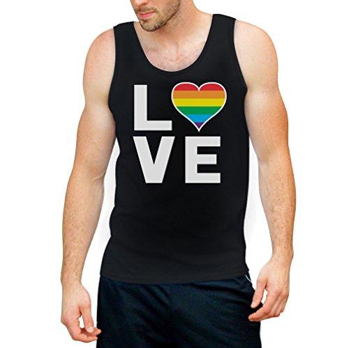 CSD Shirt/LGBT Tank Top Homosexuell Gay Pride Regenbogen Herz in Love Tank Top X-Large Schwarz