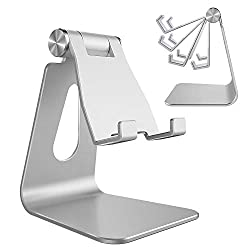 Adjustable Cell Phone Stand, CreaDream Phone Stand, Cradle, Dock, Holder, Aluminum Desktop Stand Compatible with iPhone Xs Max Xr 8 7 6 6s Plus 5s Charging, Accessories Desk,All Smart Phone-Silver