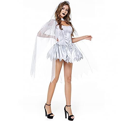 Mujeres Medieval Vestido Halloween Cosplay Uniforme Brujas Ghost Traje de la Novia...