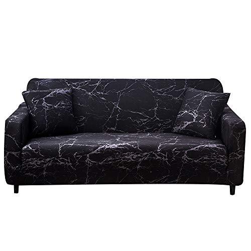 Surwin Sofabezug Sofa Überwürfe 1 2 3 4 Sitzer, Marmor Muster Elastische Stretch Universal Sofahusse Sofa Abdeckung Schonbezug Couchbezug für Armlehnen Sofa (Schwarz,2 Sitzer (145-185cm))