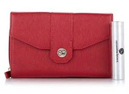 Samantha Brown Cross-Weave RFID Purse with Portable Charger - Red