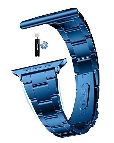 MaKTech Correa de Acero Inoxidable,(No se Necesita Herramienta) Banda de Reloj de Metal con Eslabones de Tres Piezas Compatible con Apple Watch Serie 6/SE/5/4/3 (40mm/38mm,Azul)