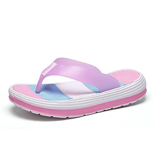 Damen Zehentrenner Sandalen Sommer Strand Flip Flops mit Plateau Sohle, Pink - 41 EU