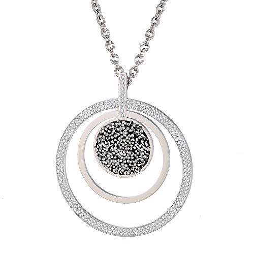 weichuang 3 Circle Color Crystal Hollow Pendant Necklace For Women Big Round Stainless Steel Female Jewelry Gift Choker (Metal Color : Silver Color)