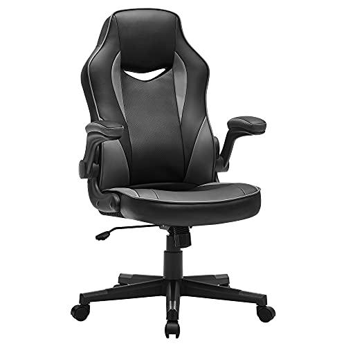 SONGMICS Bürostuhl, ergonomischer Schreibtischstuhl, Computerstuhl, höhenverstellbar, bis 150 kg belastbar, PU-Kunstleder, Homeoffice, Büro, schwarz-Grau OBG064B03
