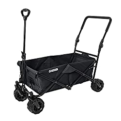 Blue Wide Wheel Wagon All-Terrain Folding Collapsible Utility Wagon with Push Bar