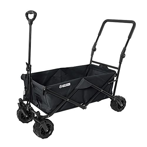 Black Wide Wheel Wagon All-Terrain Folding Collapsible Utility Wagon with Push Bar - Portable...