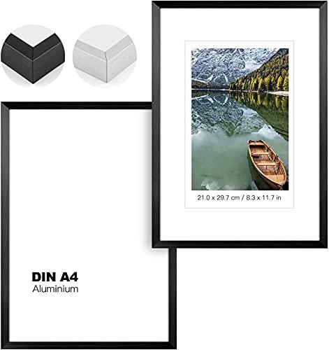 Johgee 2er Set Bilderrahmen DIN A4, Modern Schwarz Fotorahmen 20x30 cm, mit Acrylglas/Portraitrahmen/Wechselrahmen