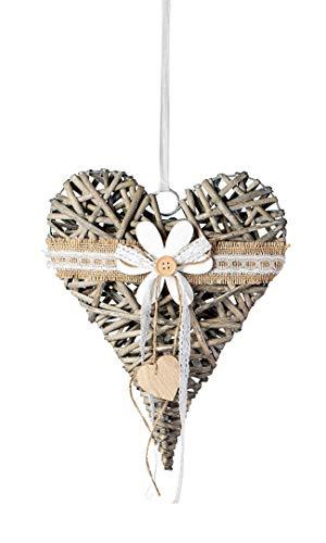 dekojohnson Fensterdeko zum aufhängen Rattan-Herz Fensterdekoration Türkranz hängend Landhausstil Herz-Hänger grau 25cm groß Blume