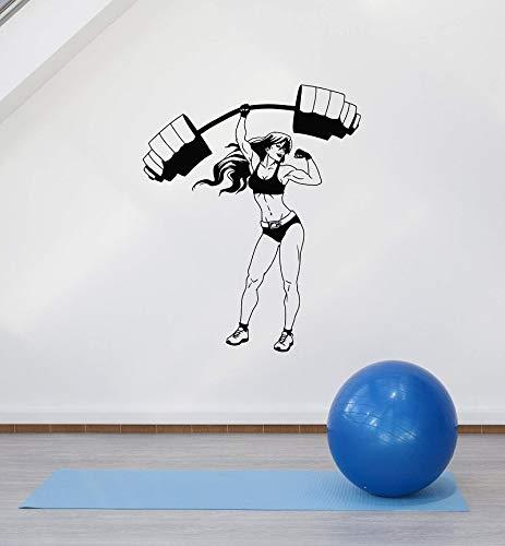 Gimnasio Fitness Deportes Levantamiento de pesas Músculo Mujer Mancuerna Barra Entrenamiento Etiqueta de la pared Vinilo Calcomanía del coche Sala de estar Club de culturismo Decoración del hogar