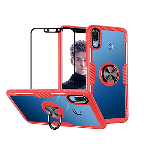 YFXP Funda Compatible con Huawei Honor Play Trasparente PC Case con Anillo de Soporte Giratorio + Cristal Templado