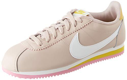 Nike Womens WMNS Classic Cortez Leather Running Shoe, Fossil Stone Summit White Saffron Quartz, 36.5 EU