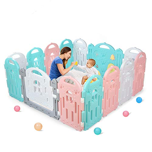 BAMMAX Baby Playpen, Baby Fence Indoor Play Yard for Baby 14 Panels Kids Activity Center Playard Portable Baby Fence Play Area with Silicone Sucker for Toddler 9 Months~4 Years Old