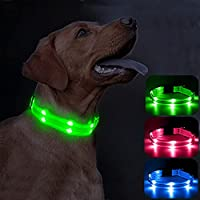 Candofly Rechargeable Light Up Dog Collars - Personalized LED Dog Collar Double Lights Glowing Pet Collars Nylon...