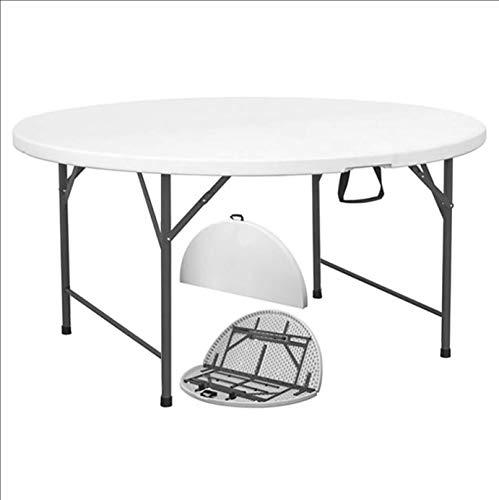 Brigros - Tavolo Pieghevole da Giardino Bianco Perfetto Come Tavolo da Campeggio, da Buffet, da Cucina | Tavolino Esterni Richiudibile a Valigetta con Maniglia (160X74 Rotondo)
