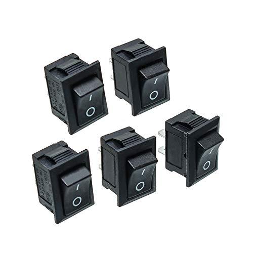 QHMDZ Interruptor basculante Switch 5pcs Black Push Mini Botón Interruptores 6A-10A 250V KCD1-101 2pin Snap-in/Off Bocker Switch 21 * 15mm
