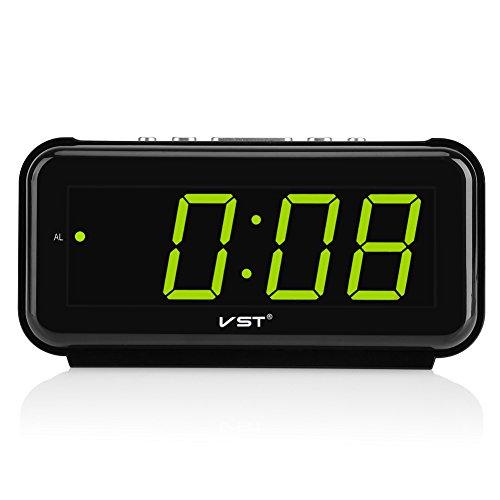 Hongzer Reloj Despertador, 220V Mesa electrónica Reloj Despertador de sobremesa Pantalla táctil de 1,8 Pulgadas LED Función de repetición de Alarma(Verde)