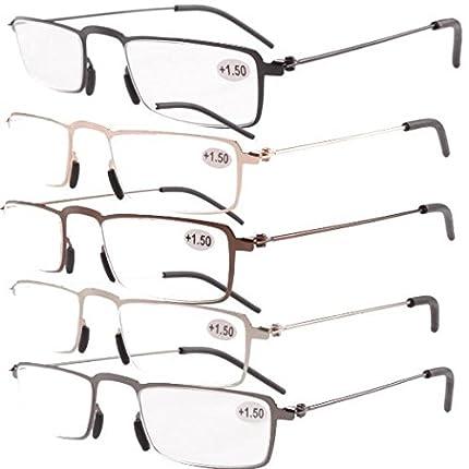 Eyekepper Gafas de lectura 5-Pack Marco de metal estampado Recta Delgado estilo mitad-ojo +3.0