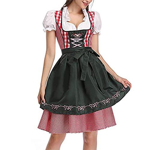 PDYLZWZY Disfraz de Oktoberfest para mujer, vestido tradicional bávaro, 3 piezas, verde oscuro, S