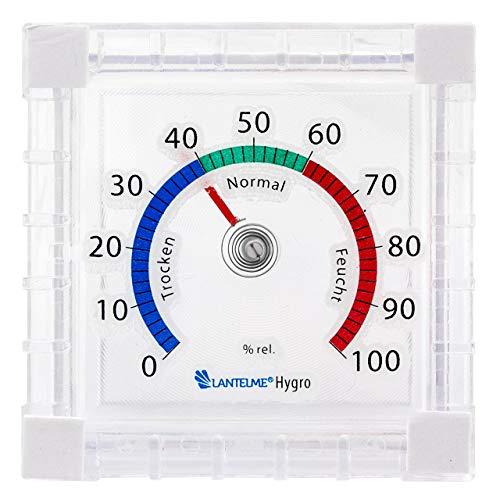 Lantelme Hygrometer analog Luftfeuchtemesser für Innen Außen Fenster Luftfeuchte Messgerät auch für Terrarium 7740