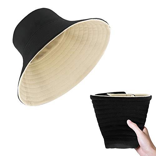 FISHSHOP Sonnenhut Damen uv Schutz Faltbar, Doppelseitig Sun Hat for Women Summer Hut Hiking Fischerhut mit Kinnriemen 56-58CM