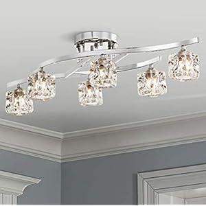 Bestier Modern Elegant Glass Crystal Ceiling Light Chandelier 6 Light Chrome Flushmount Lighting Fixture L 30.5in W 10in H 7.5in