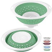 QiMH 丸型折りたたみ水切り グリーン&ホワイト 1セット