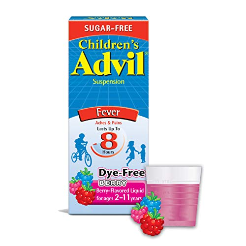 Advil Children's Suspension, Flavored, 100mg Ibuprofen Fever Reducer/Pain Reliever, Dye-Free & Sugar-Free, Liquid Pain Medicine, Ages 2 – 11 Berry Berry 4 Fl Oz