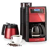 Klarstein Aromatica II Kaffeemaschine mit Mahlwerk - Filter-Kaffeemaschine, 1000 Watt, Timer, inkl. Permanent- und Aktivkohle Filter, 1.25 Liter Glaskanne, 1.25 Liter Thermoskanne, rot